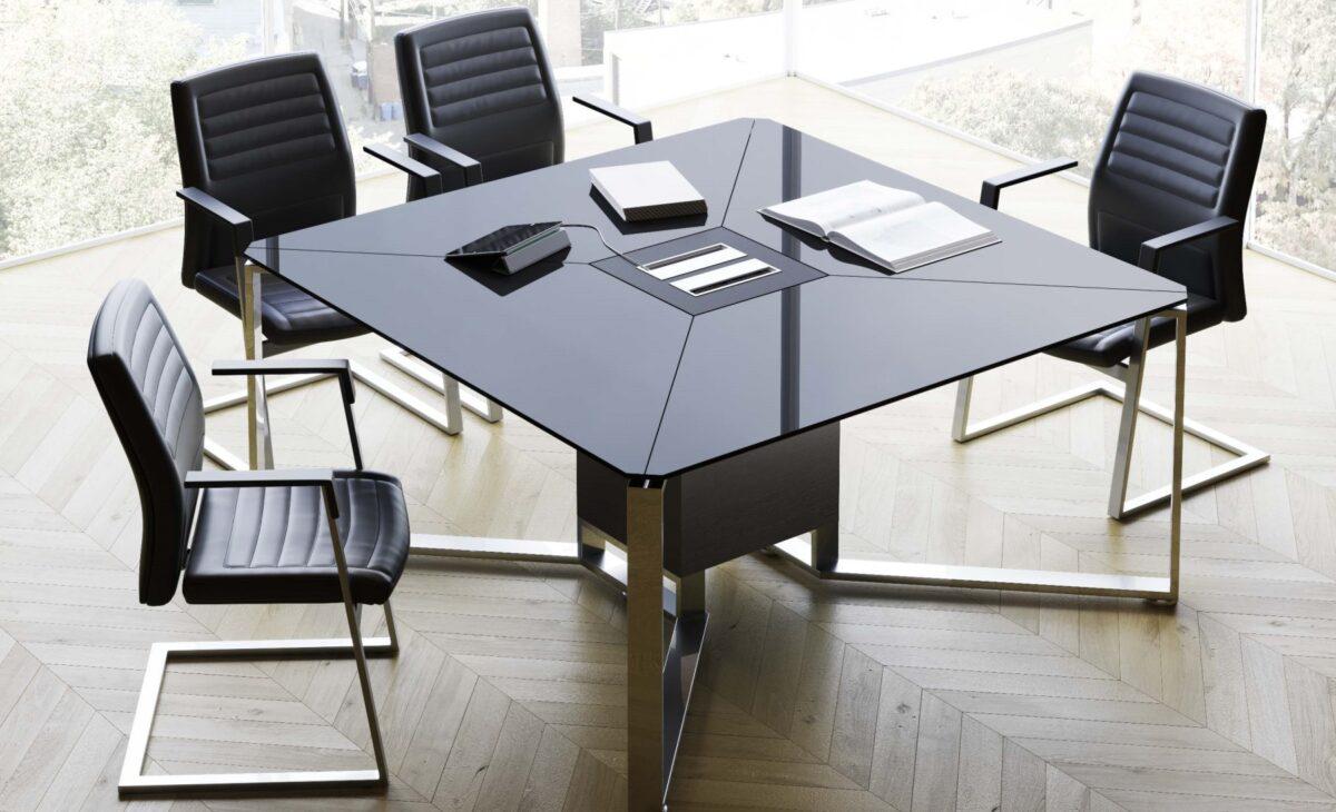 tavolo riunione in vetro scuro imeet