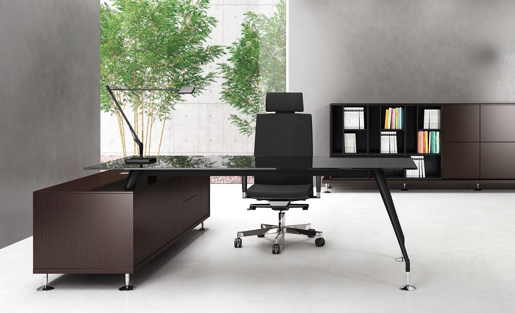 Enosi evo: scrivania direzionale con libreria contact ufficio roma