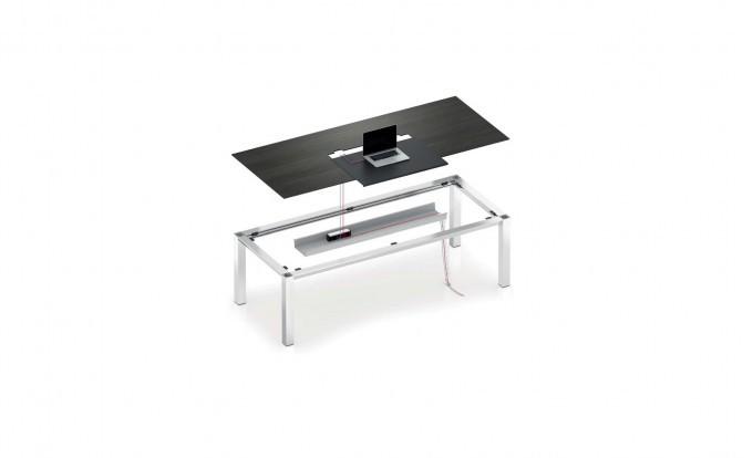scrivania con vano raccoglitore