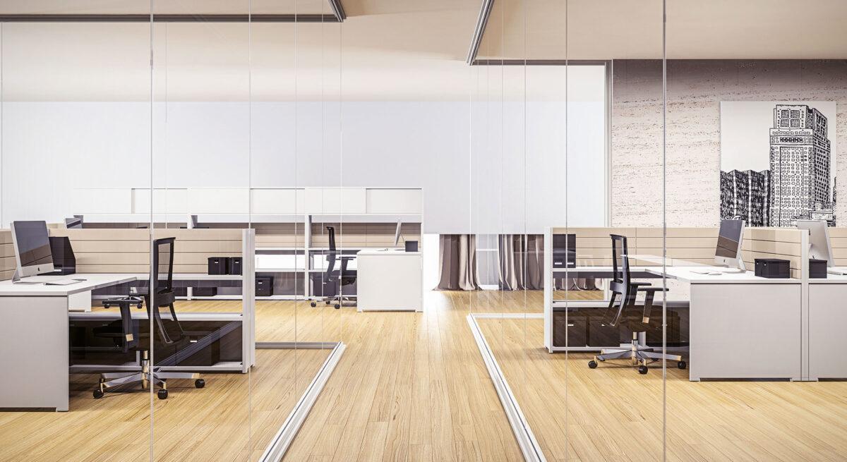 pareti divisorie per ufficio con vetro trasparente