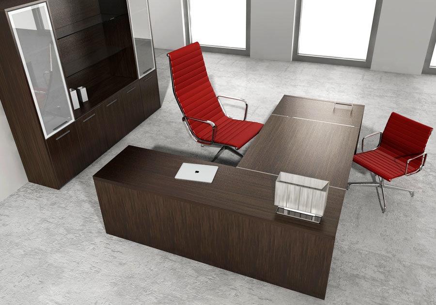 Scrivania Ad Angolo Con Libreria : Cohiba scrivania direzionale legno scuro contact ufficio roma