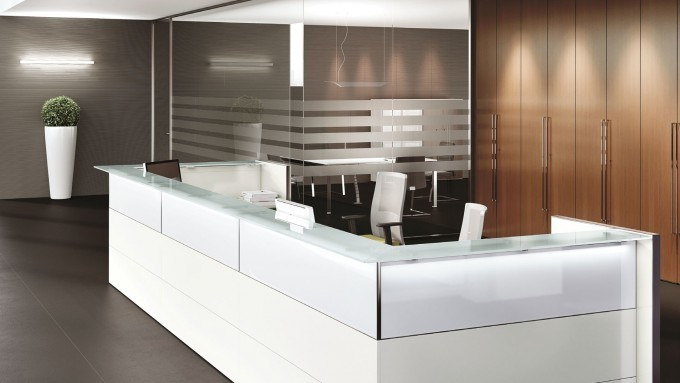 Bancone reception bianco serie Nice