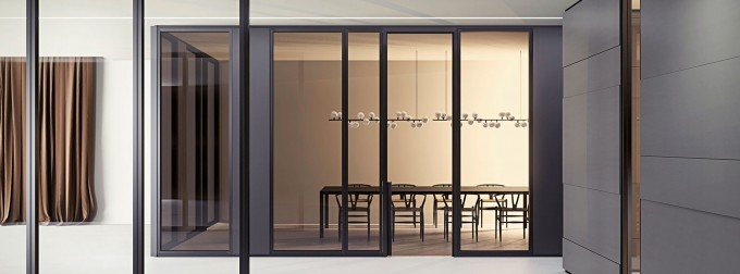 parete divisoria per ufficio a vetri