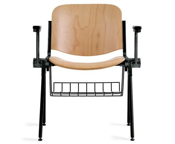 sedia color legno con cestello portaoggetti
