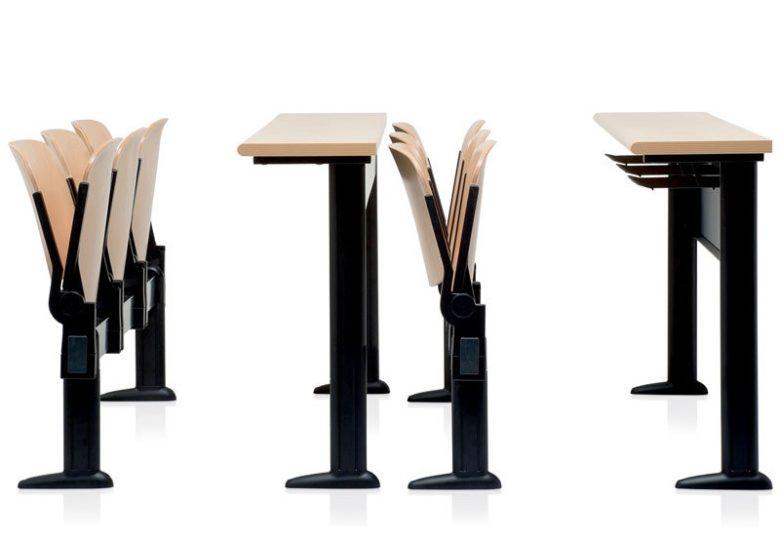 sedie per collettività color legno agganciabili su trave con tavolino