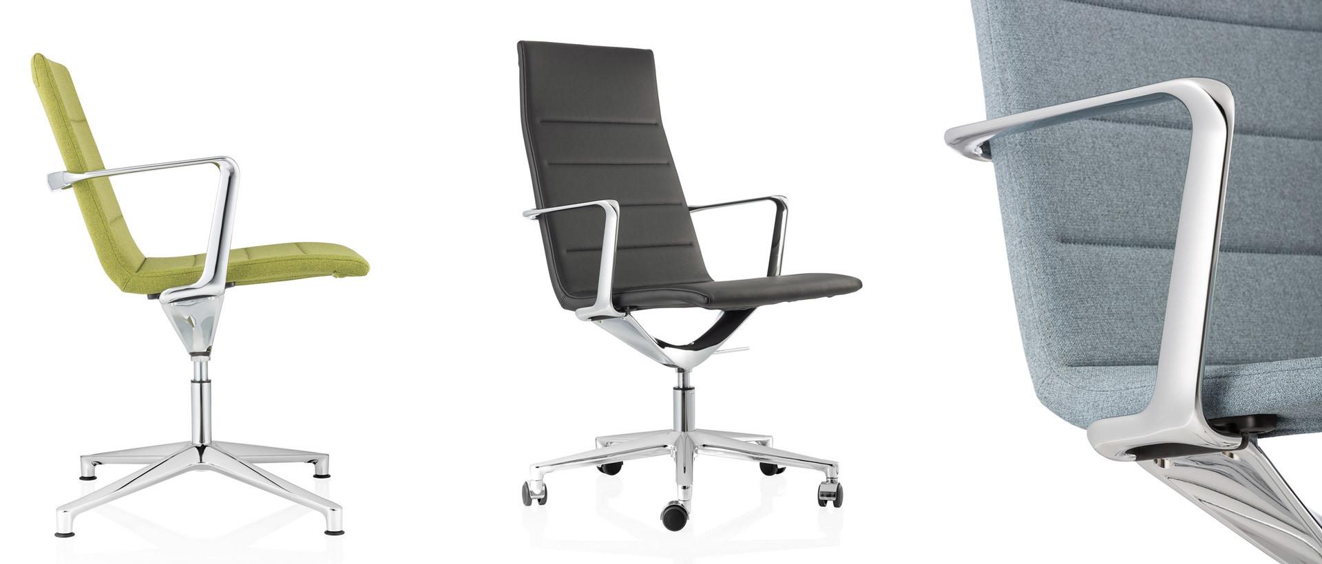 sedie ufficio acciaio tessuto e pelle