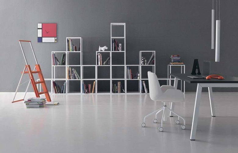 libreria ufficio minimale bianca