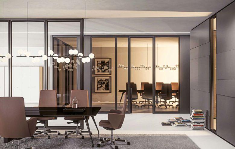 uffici con pareti divisorio in vetro