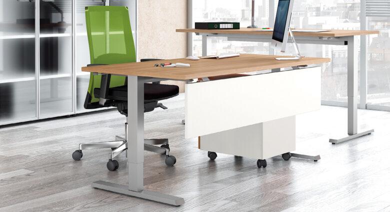 scrivania per architetto con tavolo da disegno abbinato in legno regolabile in altezza